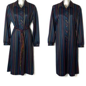 Vintage Joan Curtis Union Made Striped Dress 14